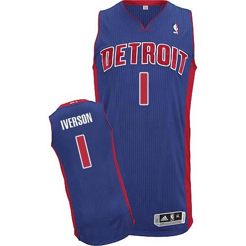 new arrivals 81f1f 6d6db Mens Adidas Detroit Pistons 1 Allen Iverson Authentic Royal ...