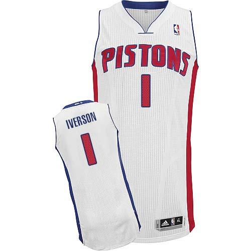 brand new 1c962 3004d Mens Adidas Detroit Pistons 1 Allen Iverson Authentic White ...