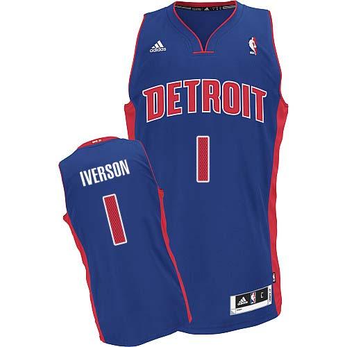online store bc855 95cc1 Mens Adidas Detroit Pistons 1 Allen Iverson Swingman Royal ...