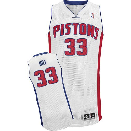 Mens Adidas Detroit Pistons 33 Grant Hill Authentic White Home NBA Jersey 24d44d54d348