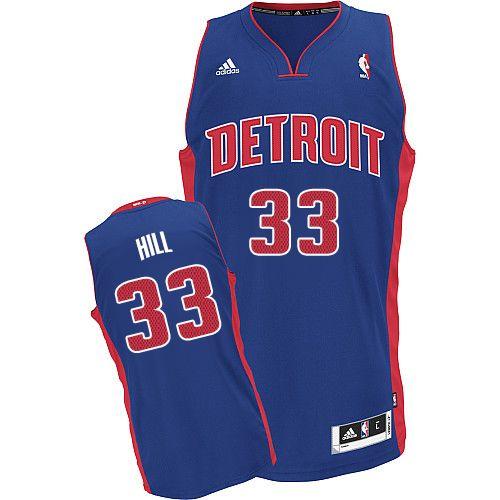 92e7b9dbf93a Mens Adidas Detroit Pistons 33 Grant Hill Swingman Royal Blue Road NBA  Jersey