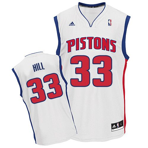 11f0470d8fb3 Mens Adidas Detroit Pistons 33 Grant Hill Swingman White Home NBA Jersey
