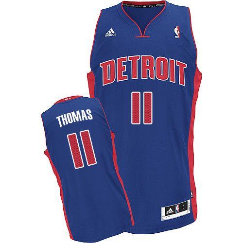 Mens Adidas Detroit Pistons 11 Isiah Thomas Swingman Royal Blue Road NBA  Jersey 20184e81c