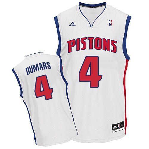 f55d76df65f3 Mens Adidas Detroit Pistons 4 Joe Dumars Swingman White Home NBA Jersey